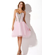 A-Line/Princess Sweetheart Knee-Length Tulle Homecoming Dress With Beading Sequins (022010389)