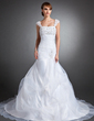 Trumpet/Mermaid Sweetheart Chapel Train Satin Organza Wedding Dress With Ruffle Lace Beading Sequins (002015142)
