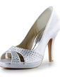 Women's Satin Cone Heel Peep Toe Platform Sandals With Rhinestone (047020129)