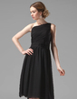 A-Line/Princess One-Shoulder Knee-Length Chiffon Bridesmaid Dress With Ruffle Flower(s) (007004118)