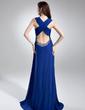 A-Line/Princess V-neck Sweep Train Chiffon Evening Dress With Ruffle Sequins (008015728)