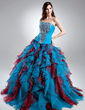 Ball-Gown Sweetheart Sweep Train Organza Quinceanera Dress With Beading Cascading Ruffles (021015689)
