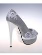 Women's Sparkling Glitter Stiletto Heel Peep Toe Platform Pumps Sandals With Flower (047057137)