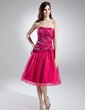 A-Line/Princess Sweetheart Knee-Length Taffeta Tulle Homecoming Dress With Ruffle Beading Flower(s) (022015743)