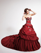 Ball-Gown Sweetheart Cathedral Train Detachable Taffeta Quinceanera Dress With Embroidered Ruffle Beading Sequins (021003122)