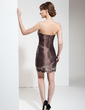 Sheath/Column Strapless Short/Mini Taffeta Mother of the Bride Dress With Embroidered Beading (008006029)
