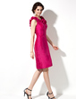 Sheath/Column Scoop Neck Knee-Length Taffeta Bridesmaid Dress With Flower(s) (007004285)