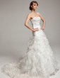 A-Line/Princess Sweetheart Chapel Train Organza Wedding Dress With Beading Cascading Ruffles (002017533)