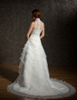 A-Line/Princess High Neck Chapel Train Satin Organza Lace Wedding Dress With Ruffle Beading (002001235)