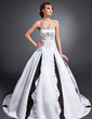 Ball-Gown Strapless Court Train Satin Wedding Dress With Embroidered (002015157)