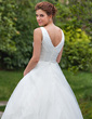 Ball-Gown V-neck Chapel Train Organza Wedding Dress With Ruffle Beading (002001267)