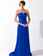Sheath/Column Sweetheart Sweep Train Charmeuse Evening Dress With Ruffle (017025999)
