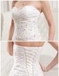 Balo Elbisesi Kalp Kesimli Şapel Kuyruk Organza Satin Gelinlik Ile Büzgü Lace Boncuklama (002011677)