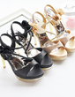 Leatherette Fabric Stiletto Heel Sandals Platform With Satin Flower shoes (087023870)