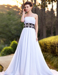 A-Line/Princess Strapless Chapel Train Chiffon Wedding Dress With Sash Beading Sequins (002011756)