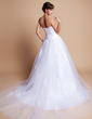 Ball-Gown Sweetheart Chapel Train Charmeuse Tulle Wedding Dress With Lace (002012136)