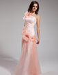 A-Line/Princess One-Shoulder Floor-Length Tulle Prom Dress With Ruffle Beading Flower(s) (018019439)