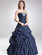 A-Line/Princess Strapless Floor-Length Taffeta Quinceanera Dress With Ruffle Beading Sequins (021016882)