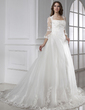 Ball-Gown Square Neckline Chapel Train Tulle Wedding Dress With Lace (002015458)