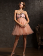 Empire Sweetheart Short/Mini Tulle Homecoming Dress With Ruffle Beading (022008996)