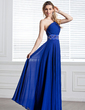 A-Line/Princess One-Shoulder Floor-Length Chiffon Evening Dress With Ruffle Beading (017004344)