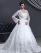 Ball-Gown Strapless Cathedral Train Satin Wedding Dress With Lace Bow(s) (002012186)
