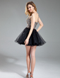 A-Line/Princess One-Shoulder Short/Mini Tulle Sequined Homecoming Dress With Beading (022019584)