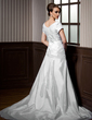 A-Line/Princess Scoop Neck Chapel Train Taffeta Wedding Dress With Ruffle Lace Beading (002012077)