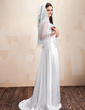 Sheath/Column V-neck Sweep Train Charmeuse Wedding Dress With Ruffle Lace (002012738)
