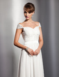 A-Line/Princess V-neck Sweep Train Chiffon Holiday Dress With Ruffle Beading (020014734)