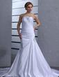 Trumpet/Mermaid Strapless Chapel Train Satin Wedding Dress With Ruffle Beading (002000433)