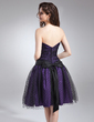 A-Line/Princess Sweetheart Knee-Length Taffeta Tulle Bridesmaid Dress With Ruffle Bow(s) (022020845)