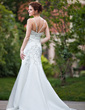 Trumpet/Mermaid V-neck Chapel Train Satin Wedding Dress With Embroidered Beading Sequins (002001685)