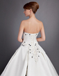 Ball-Gown Sweetheart Chapel Train Satin Wedding Dress With Embroidered Beading Sequins (002011627)