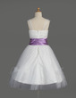 A-Line/Princess Knee-length Flower Girl Dress - Tulle/Charmeuse Sleeveless Square Neckline With Ruffles/Sash/Feather (010014608)