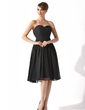 A-Line/Princess Sweetheart Knee-Length Chiffon Little Black Dress With Ruffle (043004243)