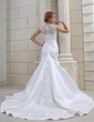 Trumpet/Mermaid Sweetheart Chapel Train Satin Organza Wedding Dress With Embroidered Beading Sequins (002012227)