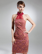 Sheath/Column Halter Knee-Length Lace Mother of the Bride Dress With Ruffle Bow(s) (008015355)