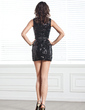 Sheath/Column Scoop Neck Short/Mini Sequined Cocktail Dress With Bow(s) (016020896)