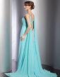 Empire Watteau Train Chiffon Evening Dress With Ruffle Beading (017014806)
