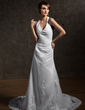 A-Line/Princess Halter Cathedral Train Tulle Wedding Dress With Lace Beading (002011563)
