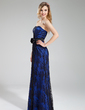 Sheath/Column Sweetheart Floor-Length Charmeuse Lace Bridesmaid Dress With Flower(s) (007019606)