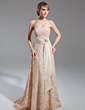 A-Line/Princess Strapless Sweep Train Lace Mother of the Bride Dress With Sash Crystal Brooch (008015102)