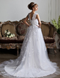 Ball-Gown V-neck Chapel Train Tulle Wedding Dress With Beading Appliques Lace (002011394)