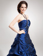 A-Line/Princess Halter Floor-Length Taffeta Quinceanera Dress With Ruffle Beading (021020760)