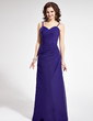 Sheath/Column Sweetheart Floor-Length Chiffon Bridesmaid Dress With Ruffle (007021815)