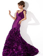 Trumpet/Mermaid Scoop Neck Sweep Train Taffeta Evening Dress With Ruffle Flower(s) (017013776)