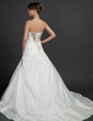 Ball-Gown Strapless Chapel Train Taffeta Wedding Dress With Ruffle Beading (002015384)