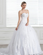 Ball-Gown Sweetheart Court Train Satin Organza Wedding Dress With Beading Appliques Lace Sequins (002005286)