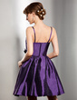 A-Line/Princess Sweetheart Knee-Length Taffeta Bridesmaid Dress With Ruffle Flower(s) (007004284)